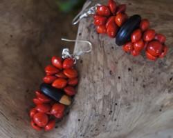 Boucles d'oreilles, en graine rouge et bois d'Ébène.